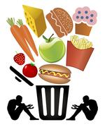 Food Waste and Poverty Stock Illustration
