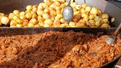 Food market. Street food. Fast food. Cabbage and potatoes Stock Footage