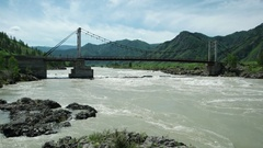 Katun river in flood. Sliding view along stream. Altay, Russia. Stock Footage