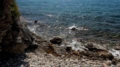 Surf on the coast of the Adriatic Sea Stock Footage