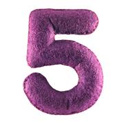 Number 5 from purple felt Stock Photos