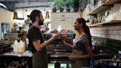 Baristas in coffee shop Stock Footage