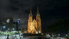 St Mary's Cathedral, Sydney moving time-lapse Stock Footage