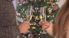 Male and female hands holds goblet bubbly cheers Stock Footage