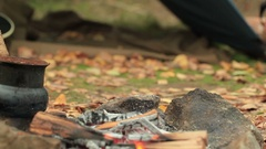 Hot Coffee, bonfire, guitar and autumn leaves in tourist camp. Slider shoot. Stock Footage