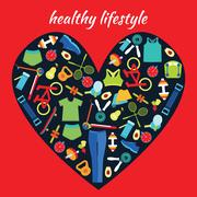 Healthy Lifestyle Background in heart shape. Stock Illustration