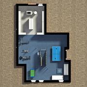 3D Furnished House Interior Stock Illustration