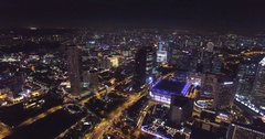 Aerial view of night Singapore. Footage from drone in 4K Stock Footage