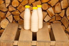 Bottles of milk Stock Photos