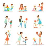 Loving Mother Playing And Enjoying Good Quality Mommy Time With Their Happy Stock Illustration