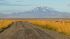 Amazing landscape with famous icelandic volcano Hekla, covered snow, fall in Stock Footage