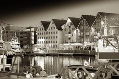 Night Tromso sepia postcard background Stock Photos