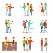 Happy Best Friends Having Good Time Together, Going Out And Talking Set Of Stock Illustration