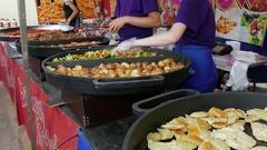 Food market. Street food. Fast food. Stock Footage