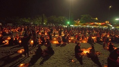 Several thousand residents and tourists dressed in black attire gathered in Stock Footage
