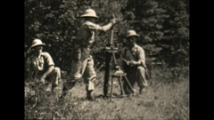 "Vintage 16mm film, 1943 Soldiers mortar training, 3"" mortar Stock Footage"