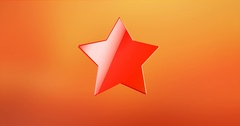 Wide Star Red 3d Icon Stock Footage