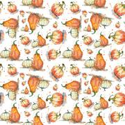 Vegetable pattern. Seamless pattern with pumpkins in watercolor Stock Illustration