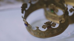 Wedding crowns on the white background Stock Footage
