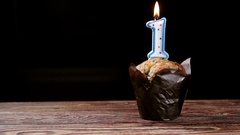 Cupcake with number one Stock Footage