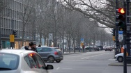Cars and people on expensive famous Kudamm street, winter, Berlin, Germany Stock Footage