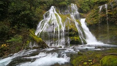 HD movie of Panther Creek Falls with plunging water audio in WA State 1080p Stock Footage