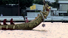 Royal Thai Barge Procession rehersal with locked camera Stock Footage