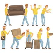 Delivery And Moving Company Employees Carrying Heavy Objects, Delivering Stock Illustration
