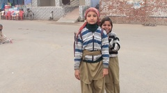 Girls from a small Indian town posing in front the camera Stock Footage