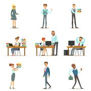 Happy Office Employees And Managers Working In The Office Space On Their Desks Stock Illustration