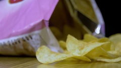 Potato Chips In Package Rotating Stock Footage