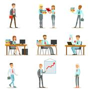 Happy Office Workers And Managers Working In The Office Space On Their Desks And Stock Illustration