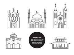 Temples of world different religions. Infographics Stock Illustration
