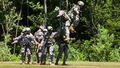 Military Evacuation Demonstration Stock Footage