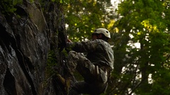 Military Rock Repelling Stock Footage