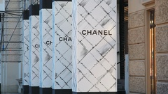 Chanel shop, expensive fashion designer label, Kudamm street, Berlin, Germany Stock Footage