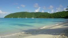 View of Maho bay beach, St John Stock Footage