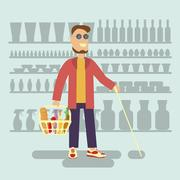 Blind person with walking stick with shopping basket in supermarket Stock Illustration