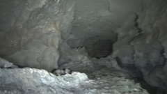 Cave of movement in front of the small stalactites Stock Footage