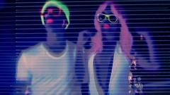 Glow uv neon sexy disco man party music woman Stock Footage