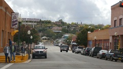 Traffic-Pedestrians along Bullard Street a main street in Silver City New Mexico Stock Footage