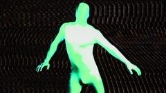 Glow uv neon sexy disco fancyman morphsuit robot electronic toy Stock Footage