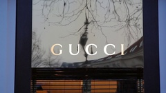 Gucci shop, expensive fashion designer label logo, Berlin, Germany Stock Footage