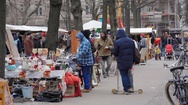 People shop and sell at flea market, Berlin, Germany Stock Footage