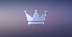 Crown Silver 3d Icon Stock Footage