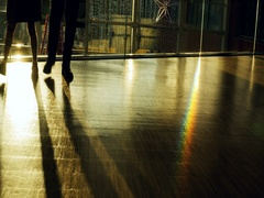 Couple and Rainbow effect seen on floor of public space Stock Footage
