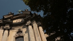 Dominican church in Lviv. Sunny day and bllue sky with no clouds Stock Footage