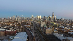 Evening view of Chicago Skyline train Stock Footage