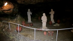 Cave Museum with statue and bowl Stock Footage