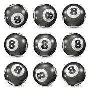 Set of billiard balls eights from different angles Stock Illustration